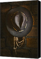 Cowboy Hat Canvas Prints - Home from The Range Canvas Print by Ron Jones