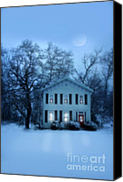 Snowy Night Canvas Prints - Home on a Wintery Evening Canvas Print by Jill Battaglia