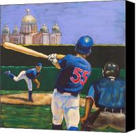 Baseball Painting Canvas Prints - Home Run Canvas Print by Buffalo Bonker