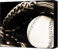 Baseball Mitt Canvas Prints - Home Run Canvas Print by Lj Lambert