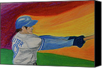 Baseball Pastels Canvas Prints - Home Run Swing Baseball Batter Canvas Print by First Star Art 