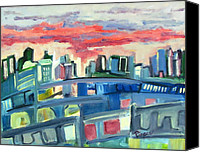 City Of Bridges Painting Canvas Prints - Home to the Softer Side of City Canvas Print by Betty Pieper