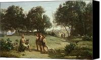 Ancient Greece Painting Canvas Prints - Homer and the Shepherds in a Landscape Canvas Print by Jean Baptiste Camille Corot