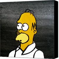 Simpsons Canvas Prints - Homer Simpson Canvas Print by Jera Sky