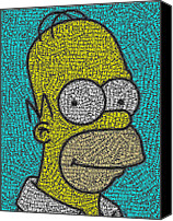 Simpsons Canvas Prints - Homer Word Mosaic Canvas Print by Paul Van Scott