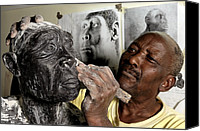 Ancestor Canvas Prints - Homo Erectus Clay Model Canvas Print by Volker Steger