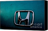 Transportation Tapestries Textiles Canvas Prints - Honda Civic Hood Badge - IMG4514 Canvas Print by Wingsdomain Art and Photography