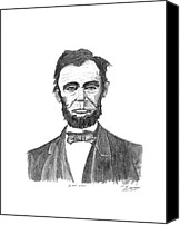 Abe Lincoln Drawings Canvas Prints - Honest Abe Canvas Print by Bob Garrison