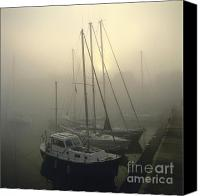 Foggy Canvas Prints - Honfleur Harbour in fog. Calvados. Normandy Canvas Print by Bernard Jaubert