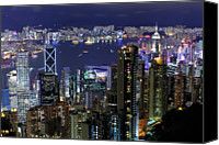 People Photo Canvas Prints - Hong Kong At Night Canvas Print by Leung Cho Pan