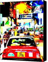 Abstract Photo Canvas Prints - Hong Kong cabs Canvas Print by Funkpix Photo  Hunter