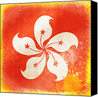 Old Pastels Canvas Prints - Hong Kong China flag Canvas Print by Setsiri Silapasuwanchai