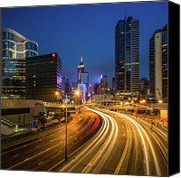 Hong Kong Photo Canvas Prints - Hong Kong City Center At Night Canvas Print by Coolbiere Photograph