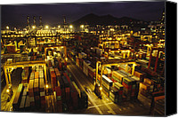 Twilight Views Canvas Prints - Hong Kong Container Terminal, One Canvas Print by Justin Guariglia