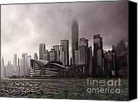 Black And White Digital Art Digital Art Canvas Prints - Hong Kong rain 5 Canvas Print by Tom Prendergast