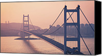Hong Kong Photo Canvas Prints - Hong Kong Tsing Ma Bridge At Sunset Canvas Print by Yiu Yu Hoi