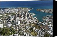 Honolulu Photo Canvas Prints - Honolulu Aerial Canvas Print by Peter French