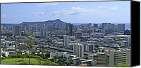 Honolulu Photo Canvas Prints - Honolulu and Diamond Head Canvas Print by Daniel Hagerman