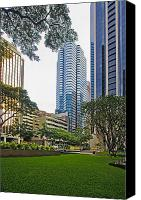 Honolulu Photo Canvas Prints - Honolulu Office Buildings Canvas Print by Tomas del Amo