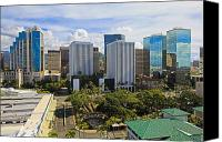 Honolulu Photo Canvas Prints - Honolulu Skyline from Aloha Tower Canvas Print by Tomas del Amo