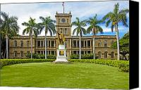 Honolulu Photo Canvas Prints - Honolulu Supreme Court and King Kamehameha Canvas Print by Tomas del Amo