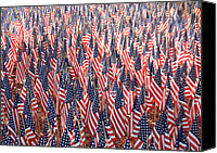 American Flags Canvas Prints - Honoring Those Who Have Sacrificied All Canvas Print by Carol Groenen