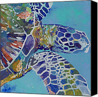 Underwater Canvas Prints - Honu Canvas Print by Marionette Taboniar