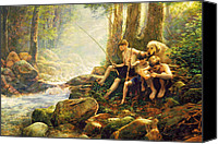 Woods Canvas Prints - Hook Line and Summer Canvas Print by Greg Olsen