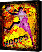 Basketball Canvas Prints - Hoops Basketball Player Abstract Canvas Print by David G Paul