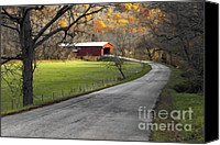 Indiana Autumn Digital Art Canvas Prints - Hoosier Autumn - D007843a Canvas Print by Daniel Dempster