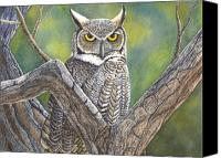 Great Painting Canvas Prints - Hooter Canvas Print by Catherine G McElroy