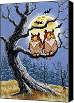 Scary Painting Canvas Prints - Hooty Whos There Canvas Print by Richard De Wolfe