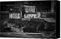 Black And White Photography Photo Canvas Prints - Hope Love Lovelife Canvas Print by Bob Orsillo