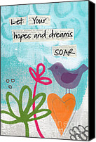 Orange Mixed Media Canvas Prints - Hopes and Dreams Soar Canvas Print by Linda Woods