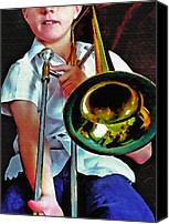 Youth Mixed Media Canvas Prints - Horn 4 Canvas Print by Steve Ohlsen