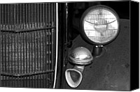 Phyllis Denton Canvas Prints - Horn And Headlight In Black And White Canvas Print by Phyllis Denton