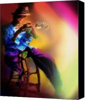 Mike Pastels Canvas Prints - Horn Player 1 Canvas Print by Mike Massengale