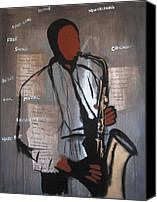 Jazz Instruments Mixed Media Canvas Prints - Horn Players Canvas Print by Darrin Patton