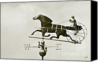 Monocromatico Canvas Prints - Horse And Buggy Weathervane In Sepia Canvas Print by Ben and Raisa Gertsberg