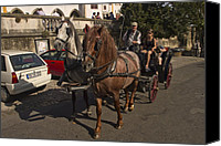 Horse Carriage Canvas Prints - Horse and Carriage in rural Portugal Canvas Print by Sven Brogren