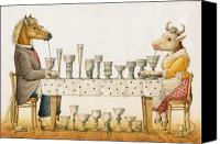 Horse Drawings Canvas Prints - Horse and Cow Canvas Print by Kestutis Kasparavicius