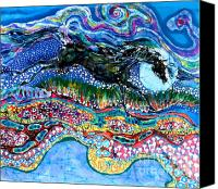 Fantasy Tapestries - Textiles Canvas Prints - Horse Born of Moon Energy Canvas Print by Carol Law Conklin