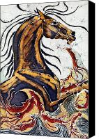 Motion Tapestries - Textiles Canvas Prints - Horse Dances in Sea with Squid Canvas Print by Carol Law Conklin