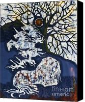 Unicorns Tapestries - Textiles Canvas Prints - Horse Dreaming Below Trees Canvas Print by Carol  Law Conklin