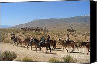 Horseback Canvas Prints - Horse Drive from June Lake to Bishop California Canvas Print by Christine Till