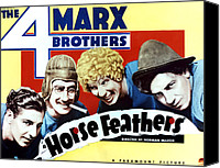 Movie Posters Canvas Prints - Horse Feathers, From Left Zeppo Marx Canvas Print by Everett