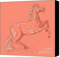 Pony Canvas Prints - Horse Prancing Canvas Print by Aloysius Patrimonio