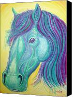Horse Drawing Canvas Prints - Horse profile Canvas Print by Nick Gustafson