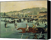 Track Racing Canvas Prints - Horse Racing Canvas Print by Edouard Manet