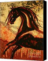 Portraits Tapestries - Textiles Canvas Prints - Horse Through Web of Fire Canvas Print by Carol Law Conklin
